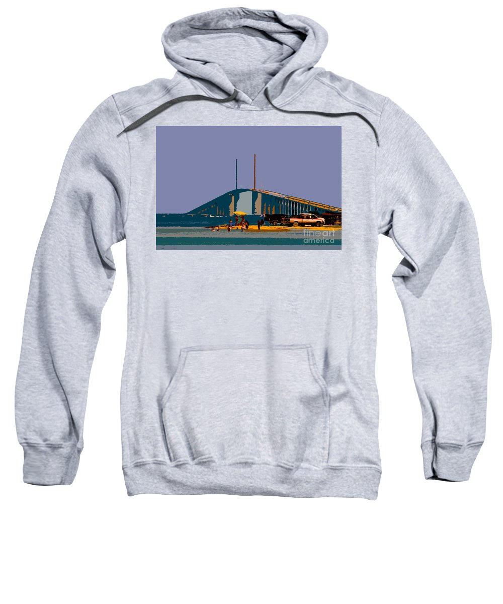 Sunshine Skyway Bridge Sweatshirt featuring the photograph Sunshine Skyway by David Lee Thompson