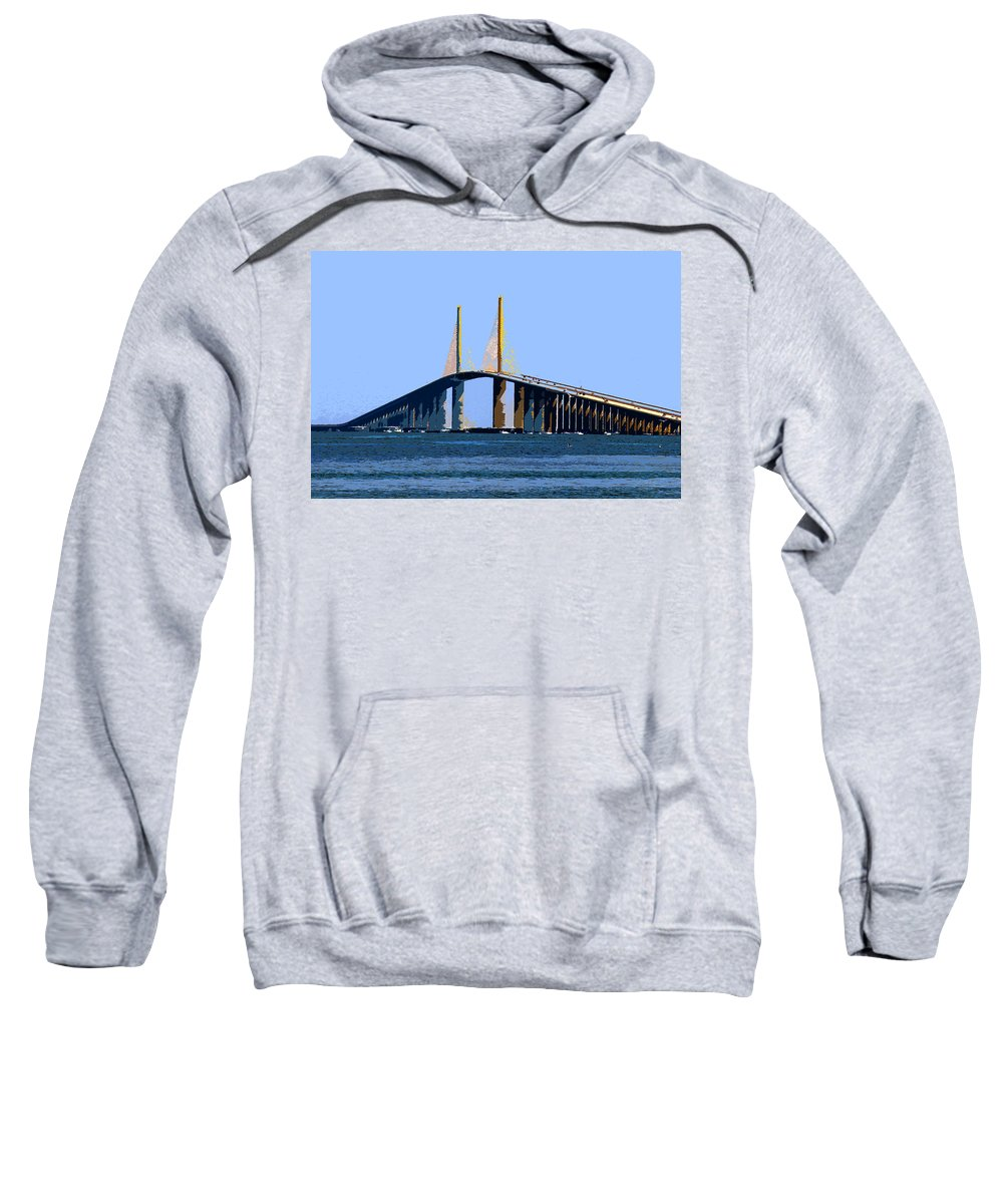 Sunshine Skyway Bridge Sweatshirt featuring the painting Sunshine Skyway Summer by David Lee Thompson