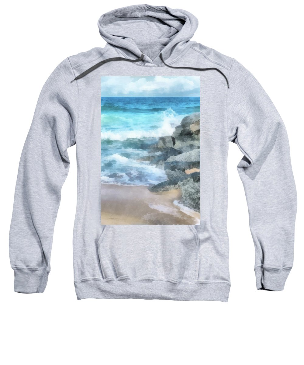 Jetty Sweatshirt featuring the digital art Surf Break by Francesa Miller