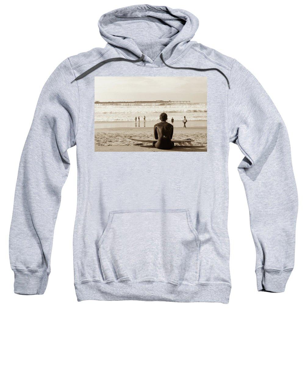 Ocean Sweatshirt featuring the photograph Surf Watcher by Clifford Beck