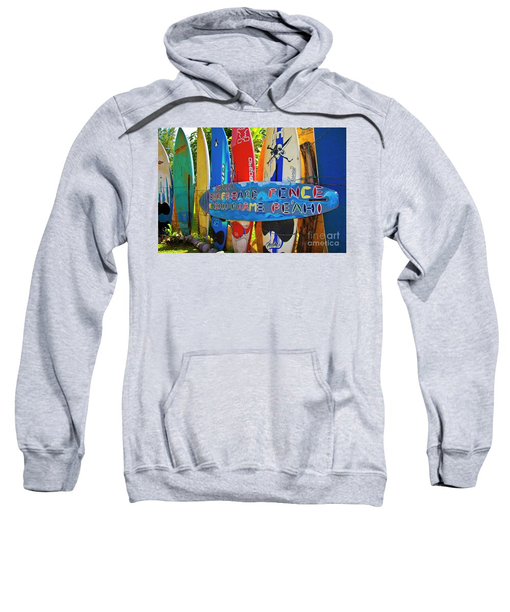 Surfboards Sweatshirt featuring the photograph Surfboard Fence-the Amazing Race by Jim Cazel