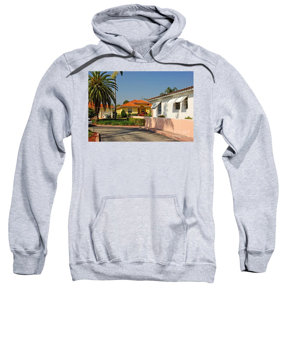 Florida Sweatshirt featuring the photograph Surfside Neighborhood In Miami Beach by Zal Latzkovich