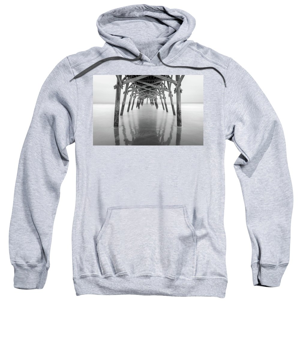Long Exposure Sweatshirt featuring the photograph Surfside Pier Exposure by Charles Lawhon