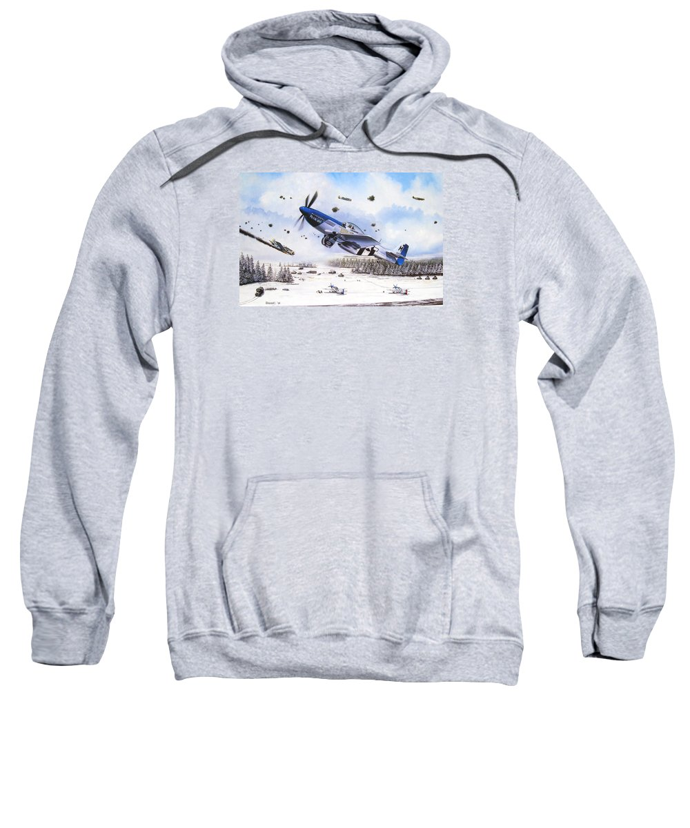 Aviation Sweatshirt featuring the painting Surprise At Asch by Marc Stewart