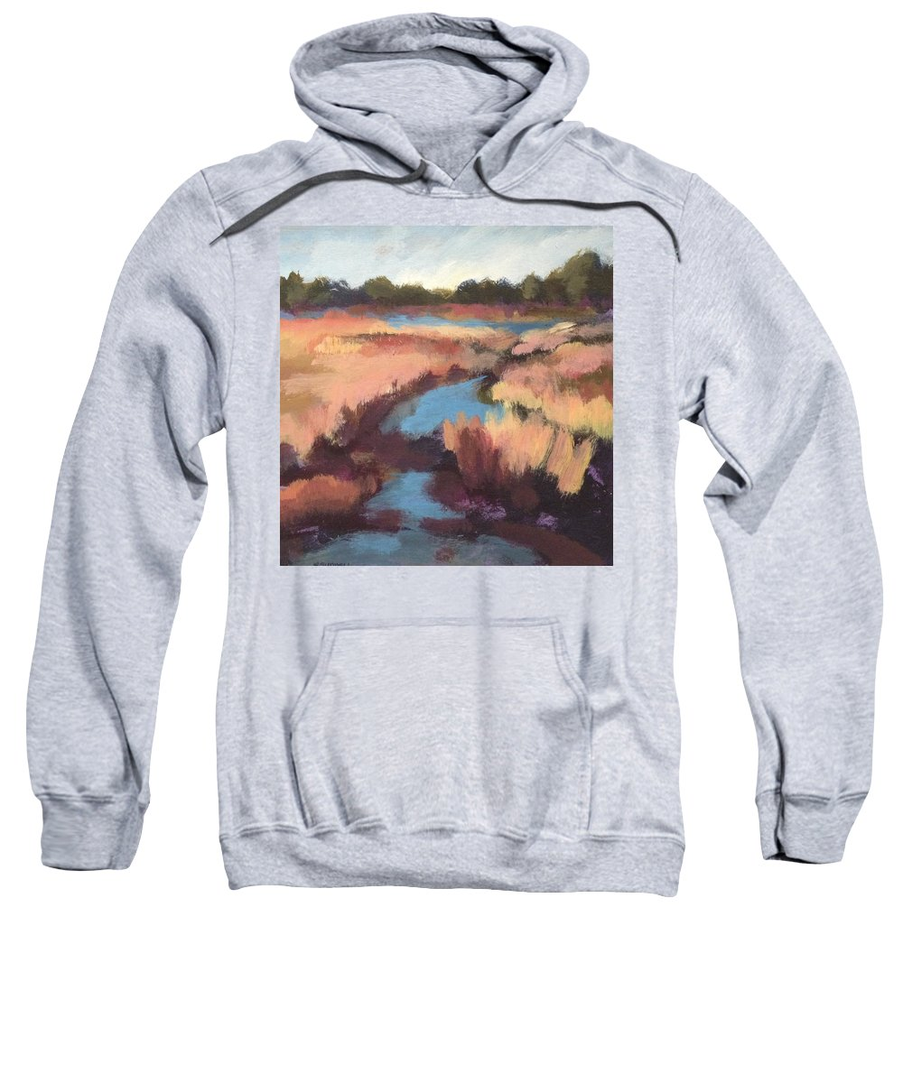Sweatshirt featuring the painting Surprise Wetland by Rachel Sunnell