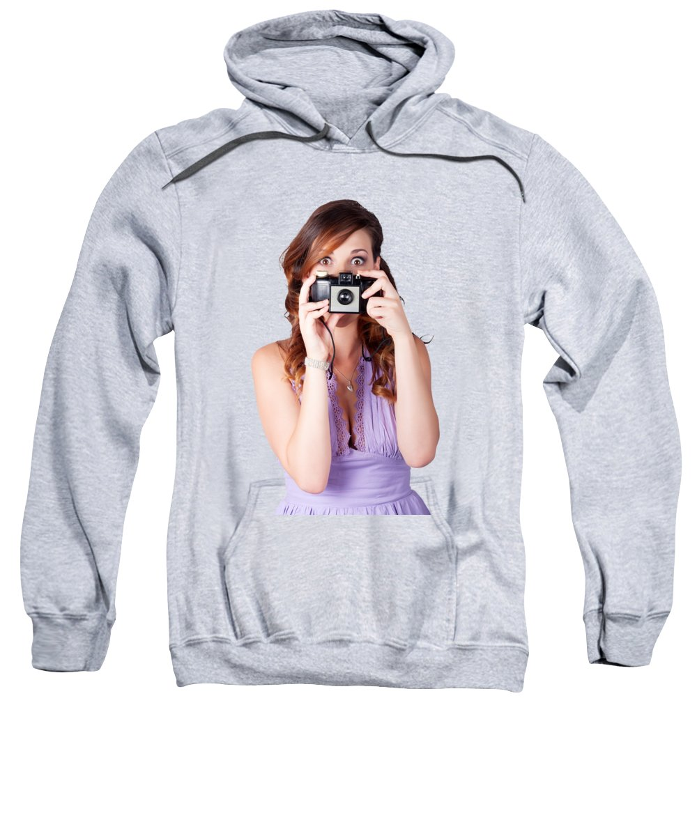 Photographer Sweatshirt featuring the photograph Surprised Woman Taking Picture With Old Camera by Jorgo Photography - Wall Art Gallery