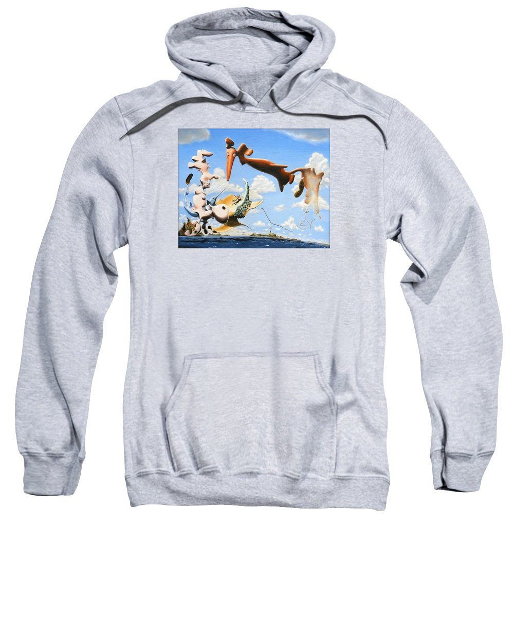 Surreal Sweatshirt featuring the painting Surreal Friends by Dave Martsolf