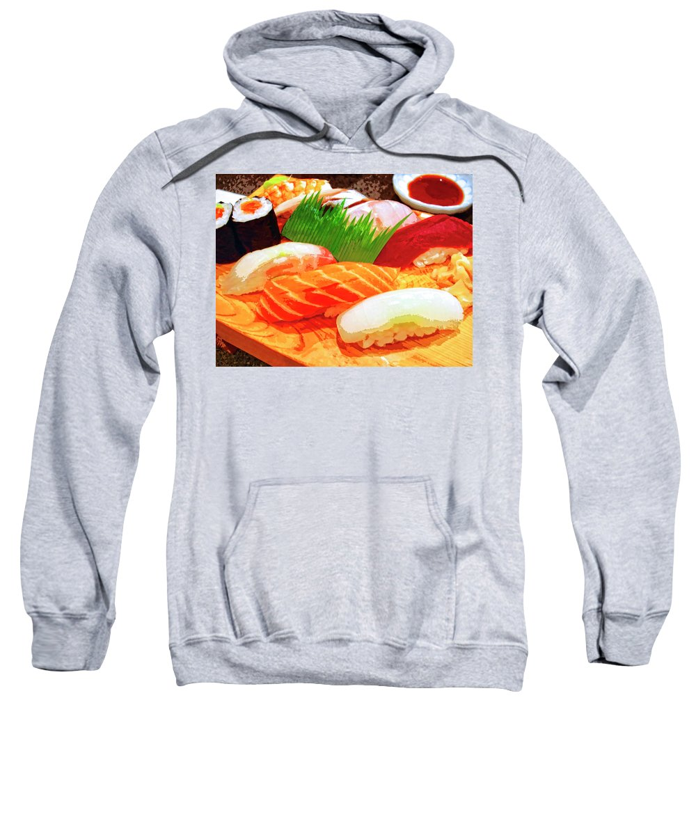 Sushi Plate Sweatshirt featuring the mixed media Sushi Plate 1 by Dominic Piperata
