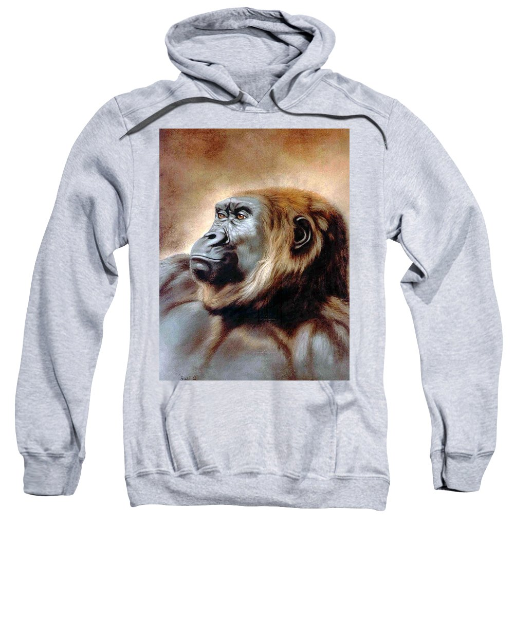 Gorilla Sweatshirt featuring the painting Suzie Q by Deb Owens-Lowe