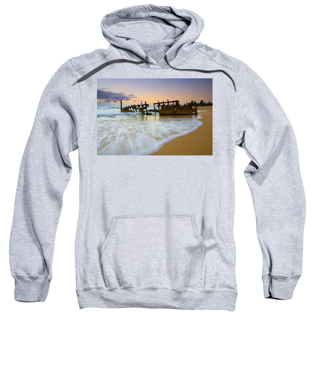 Shipwreck Sweatshirt featuring the photograph Swallowed By The Tides by Mike Dawson