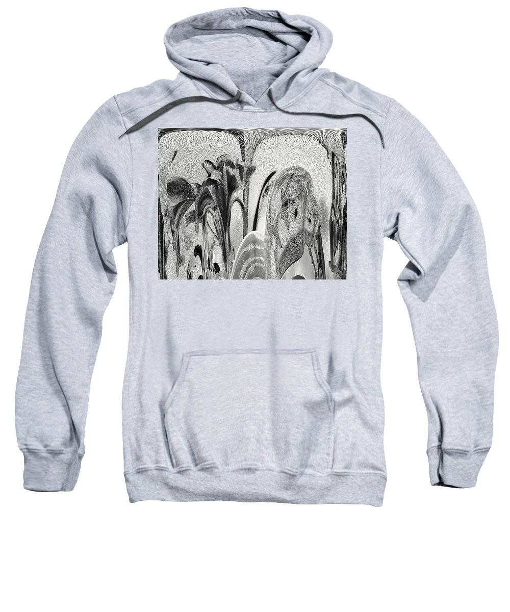 Abstract Sweatshirt featuring the digital art Swallows And Lillies by Lenore Senior