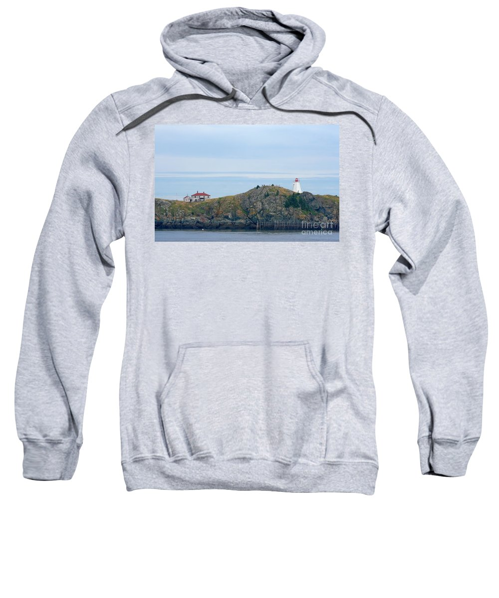 Lighthouse Sweatshirt featuring the photograph Swallowtail Lighthouse And Keeper by Thomas Marchessault