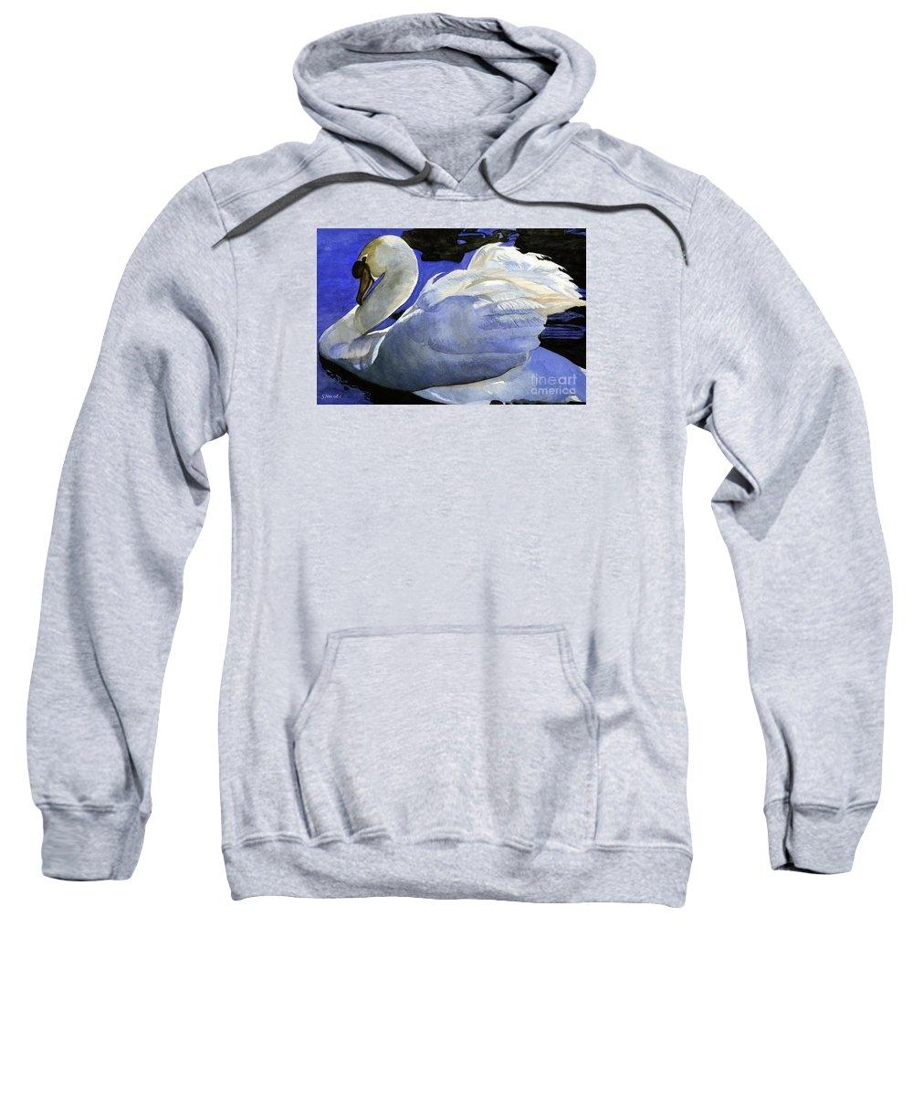 Swan Sweatshirt featuring the painting Swan by Shari Nees