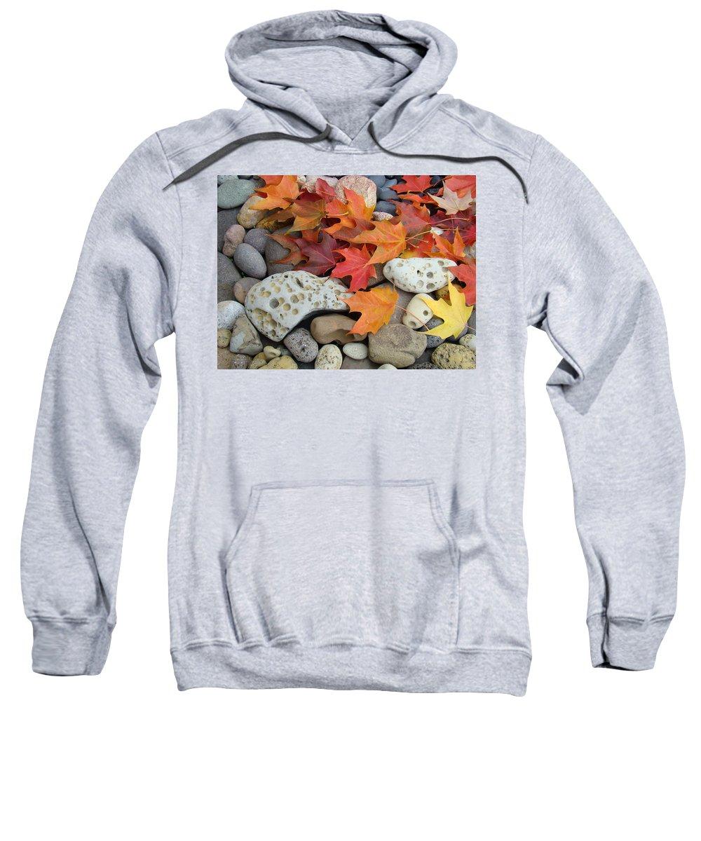 Art Sweatshirt featuring the photograph Sweet Autumn 1 Autumn Leaves Rock Designs Photography Digital Art Prints by Baslee Troutman
