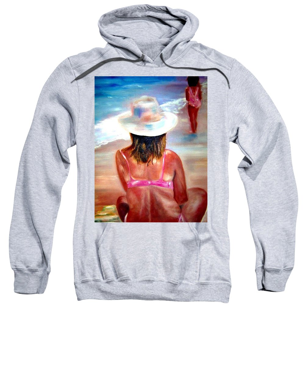 Beach Sweatshirt featuring the painting Sweet Child Of Mine by Sandy Ryan