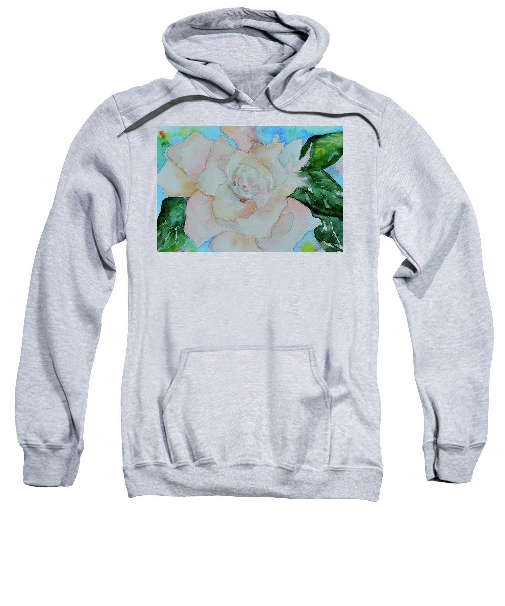 Gardenia Sweatshirt featuring the painting Sweet Gardenia by Beverley Harper Tinsley