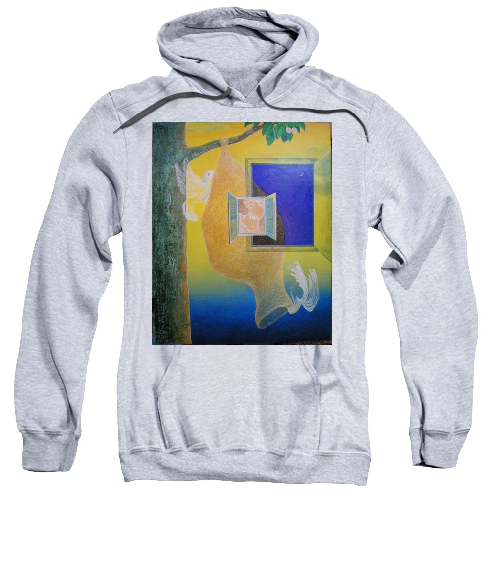 Romantic Sweatshirt featuring the painting Sweet Home by Raju Bose
