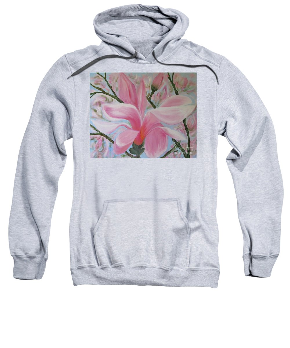 Magnolia Sweatshirt featuring the painting Sweet Magnolia by Lorraine Centrella