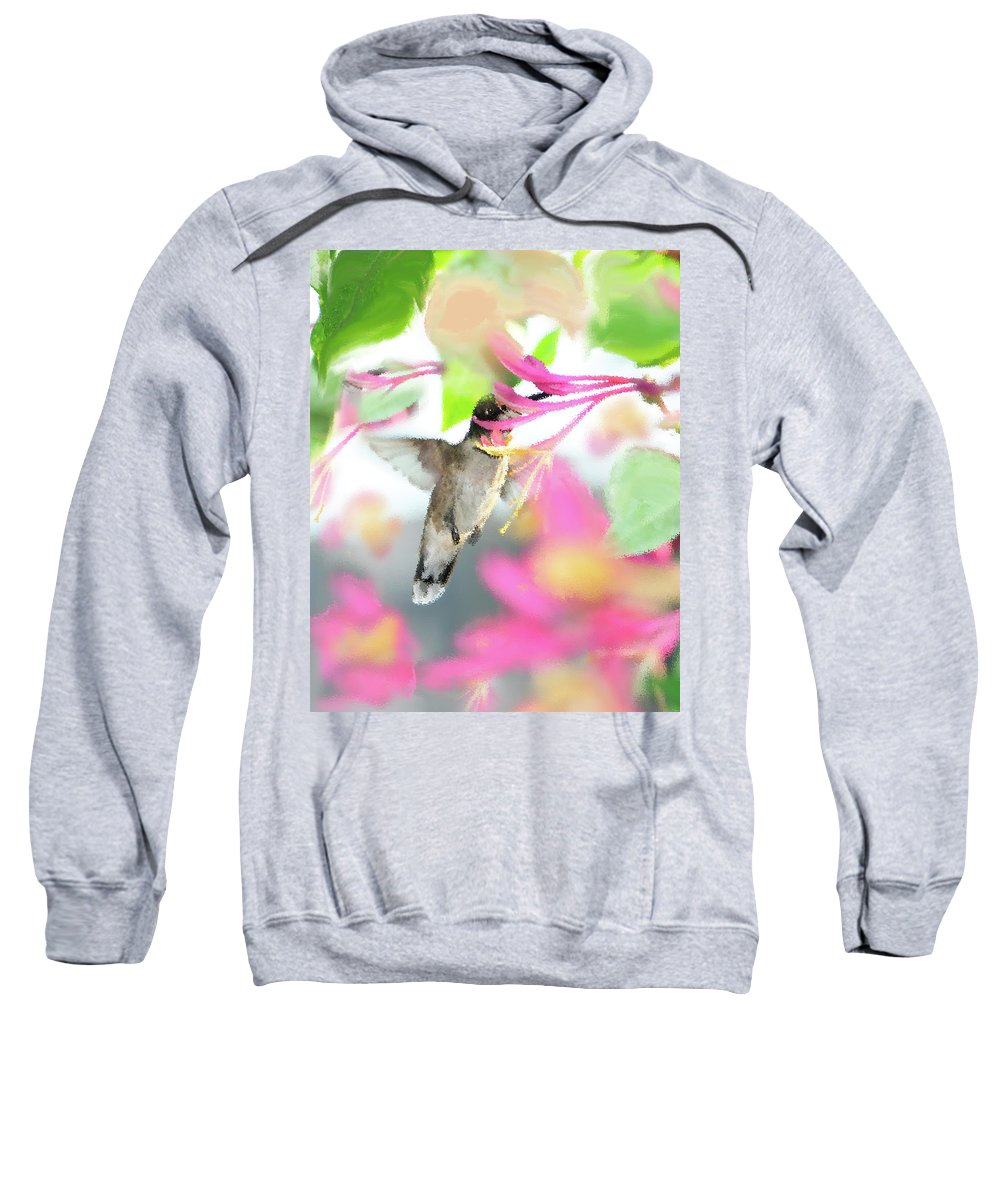 Ruby-throated Hummingbird Sweatshirt featuring the photograph Sweet Surprise by Betty LaRue