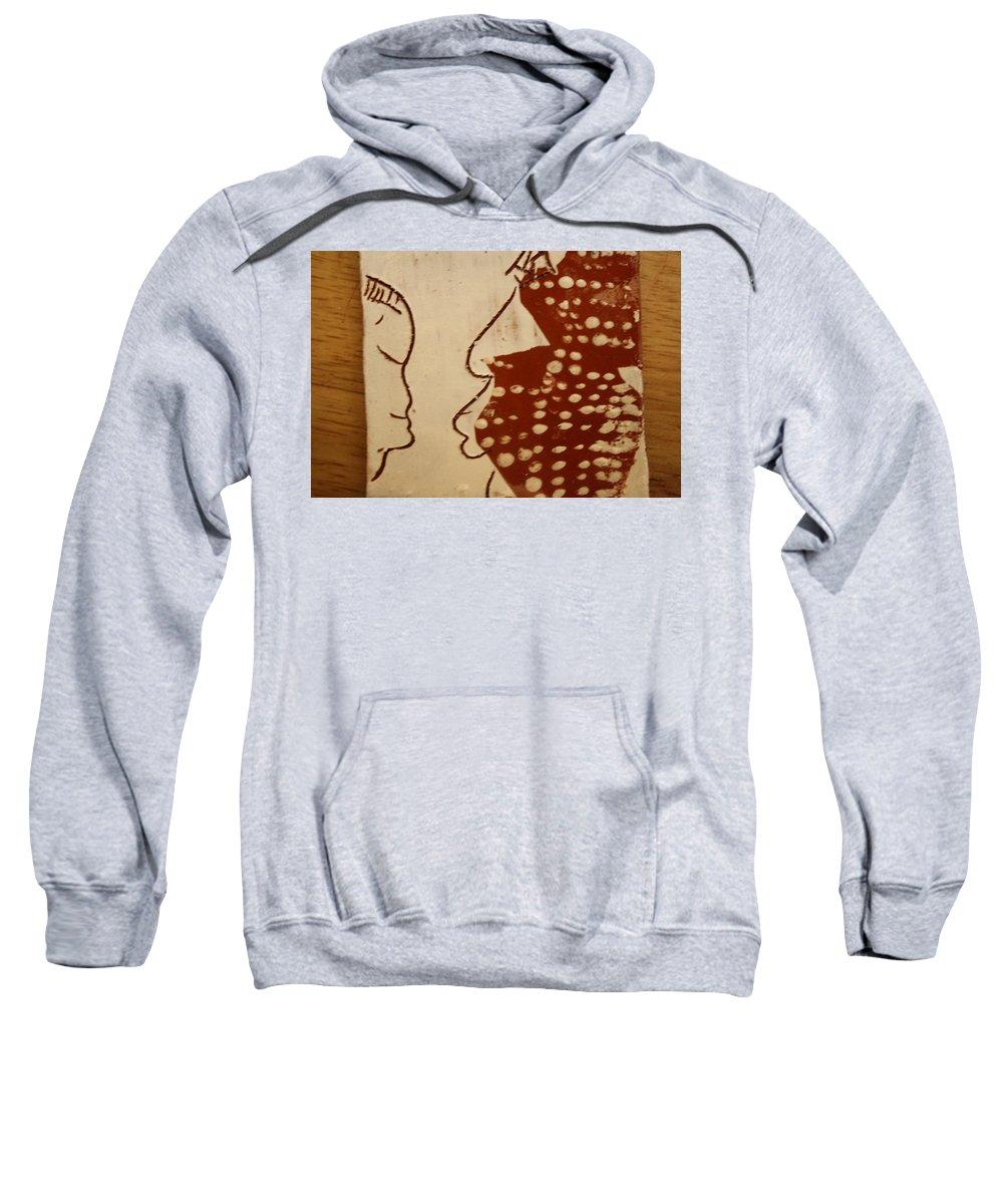 Jesus Sweatshirt featuring the ceramic art Sweethearts 10 - Tile by Gloria Ssali