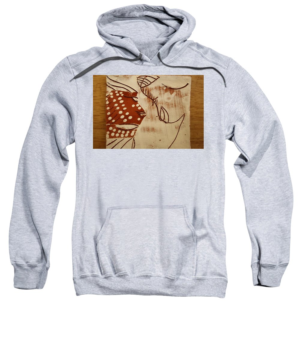 Jesus Sweatshirt featuring the ceramic art Sweethearts 6 - Tile by Gloria Ssali