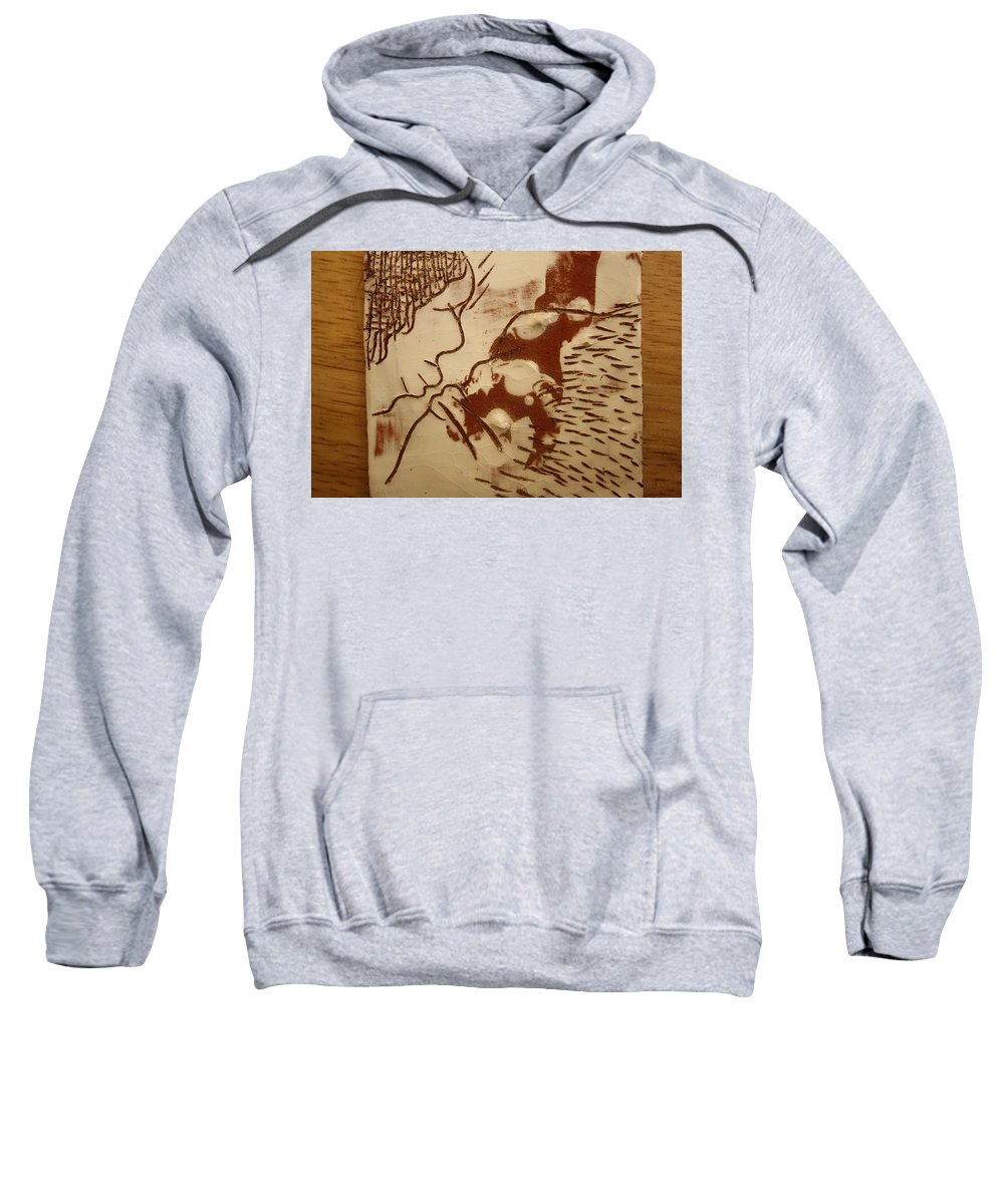 Jesus Sweatshirt featuring the ceramic art Sweethearts 8 - Tile by Gloria Ssali