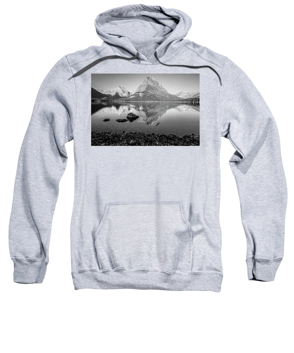 Glacier Sweatshirt featuring the photograph Swift Current Lake Reflection Black And White by John McGraw