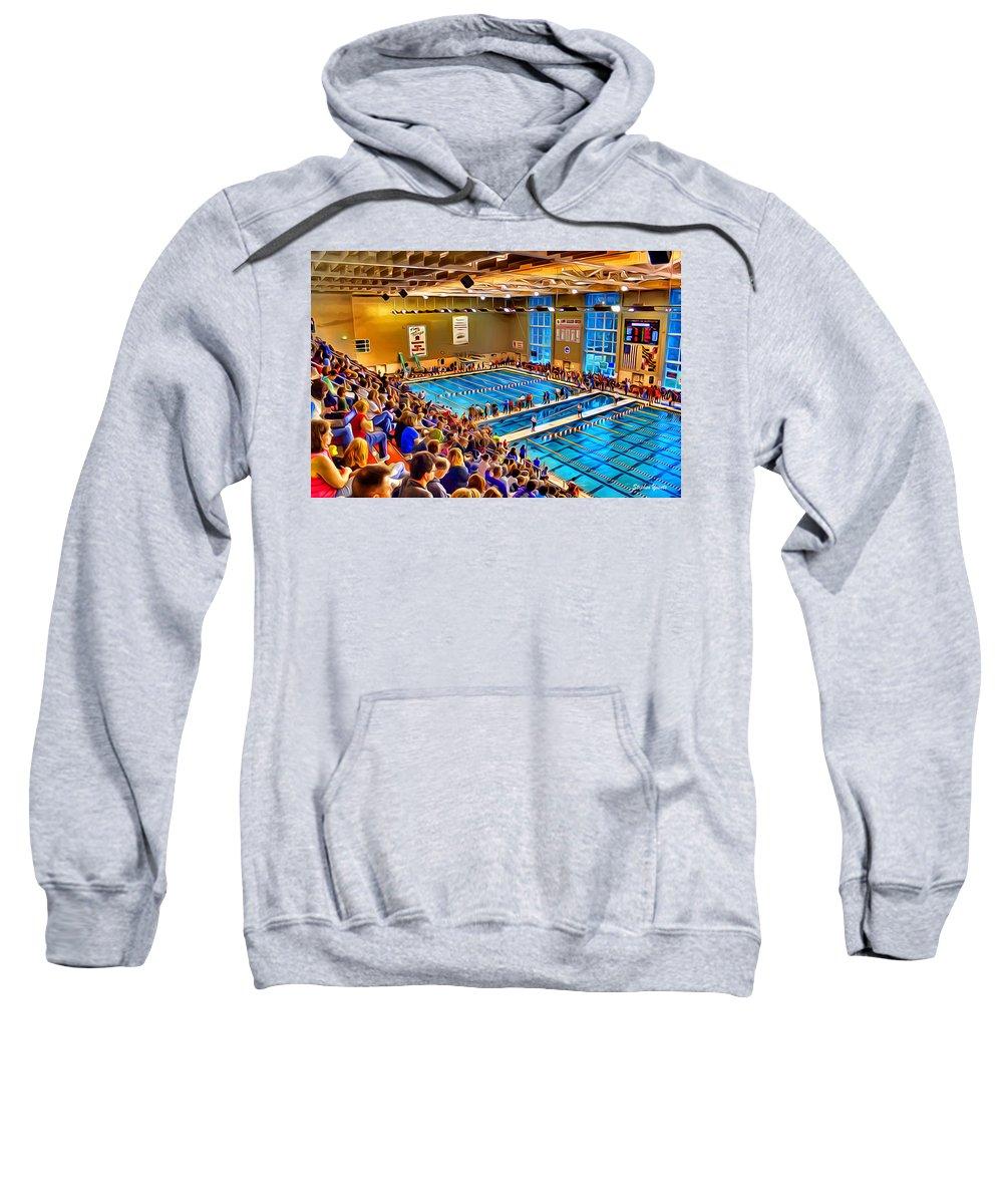 Swim Sweatshirt featuring the digital art Swim Meet by Stephen Younts