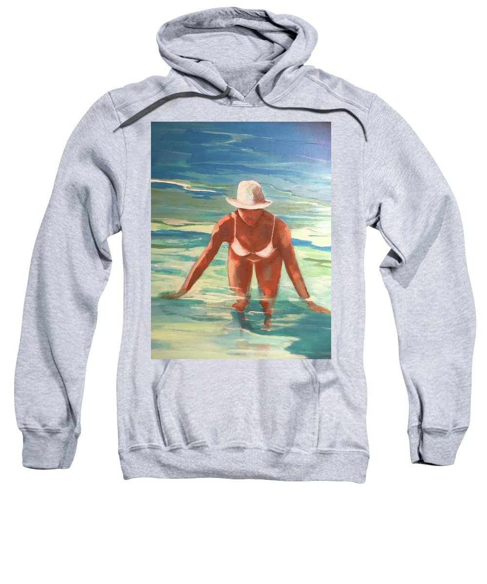 Figurative Sweatshirt featuring the painting Swimmer In Blue by Anne Carter