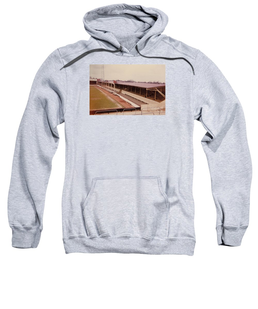 Sweatshirt featuring the photograph Swindon - County Ground - Main Stand 1 - 1970 by Legendary Football Grounds