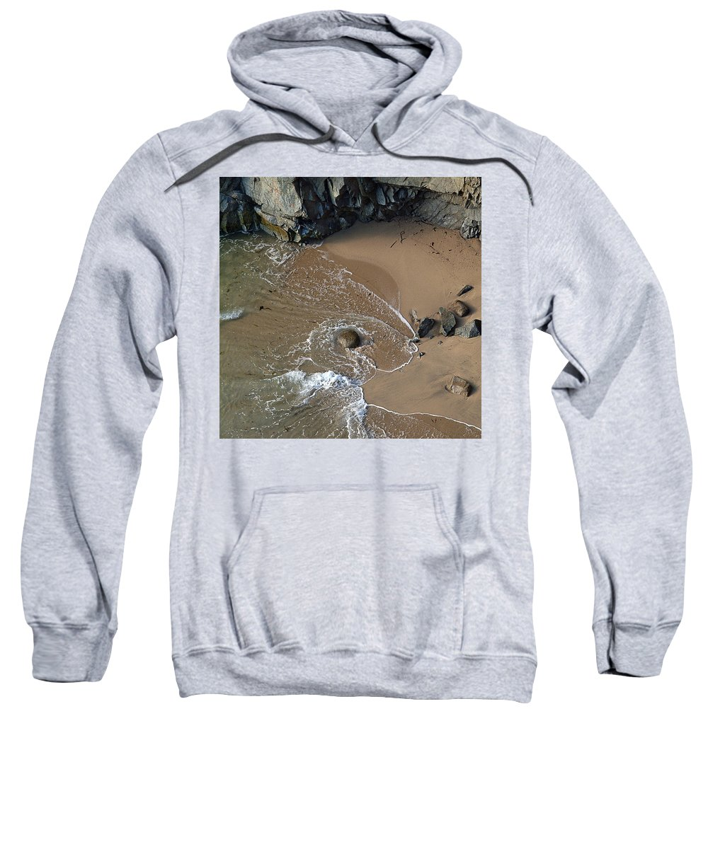 Big Sur Sweatshirt featuring the photograph Swirling Surf And Rocks by Charlene Mitchell