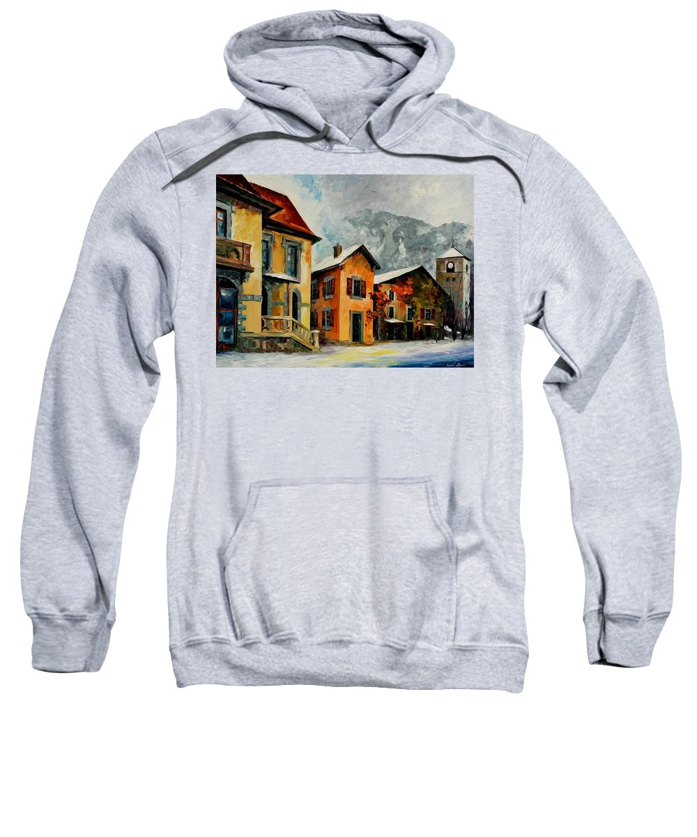 Afremov Sweatshirt featuring the painting Switzerland - Town In The Alps by Leonid Afremov