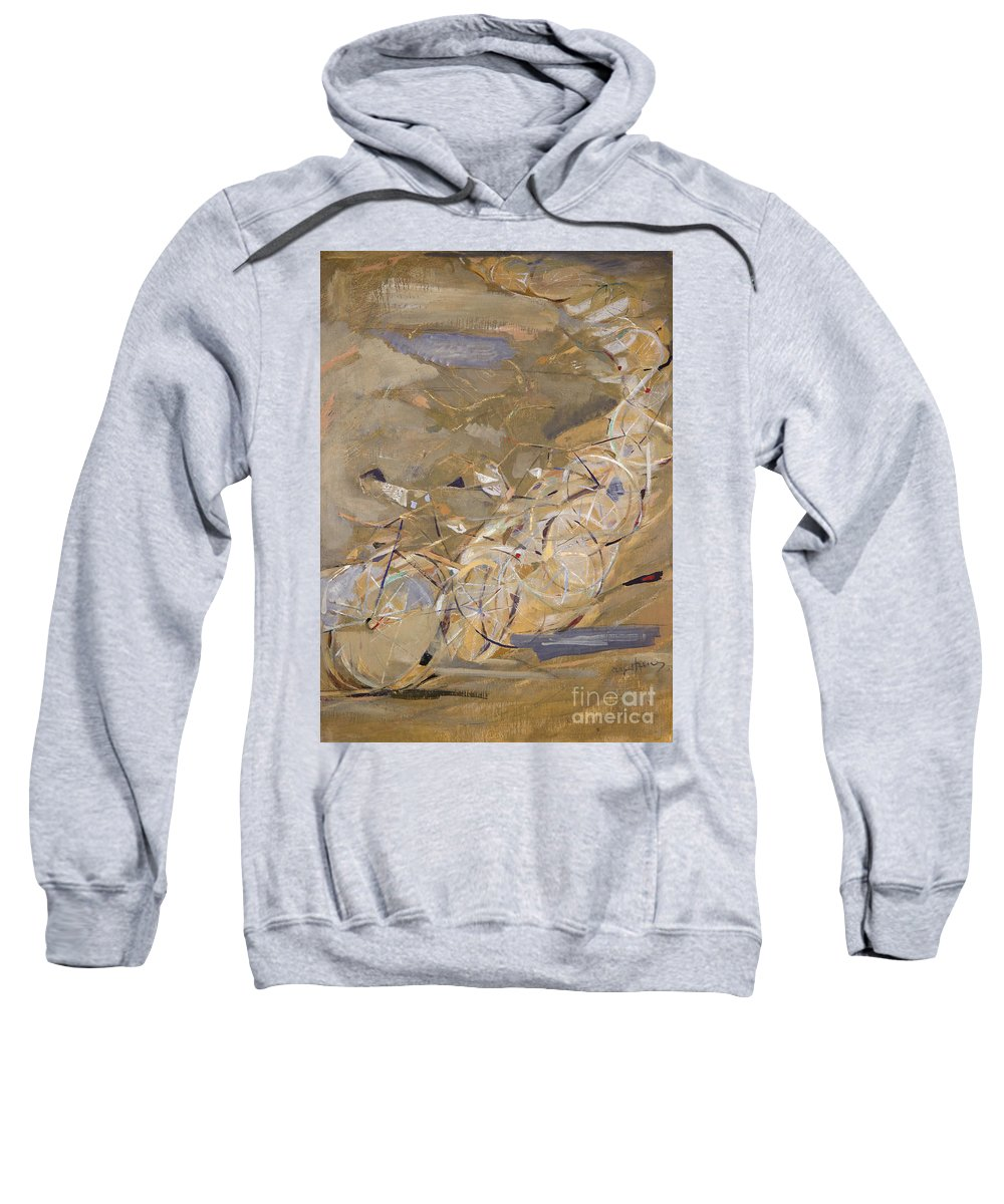 1954 Sweatshirt featuring the photograph Szenes: Bicycle Racers by Granger