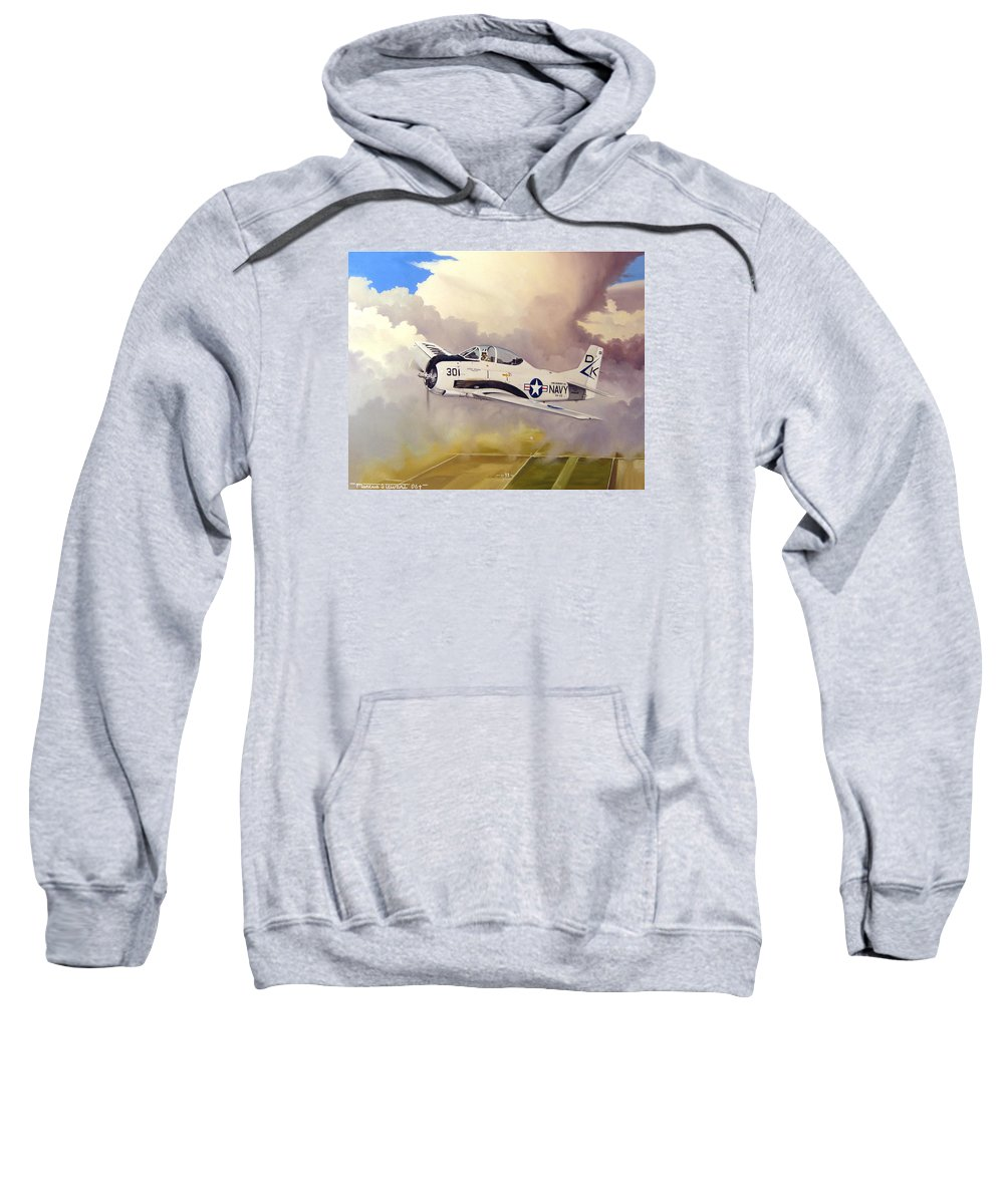 Military Sweatshirt featuring the painting T-28 Over Iowa by Marc Stewart