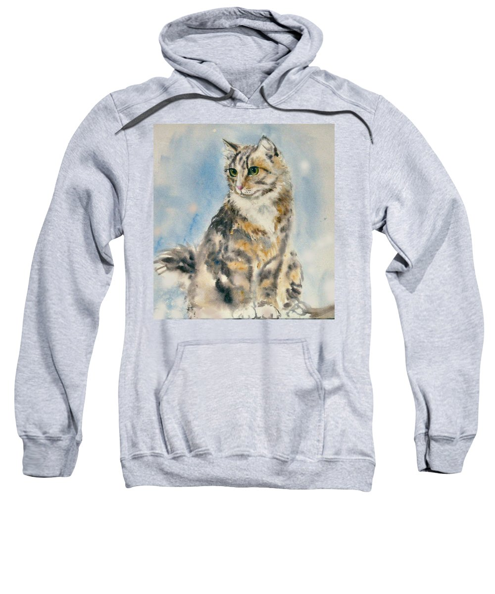 Cat Painting. Original.tabby Cat Sweatshirt featuring the painting Tabby Cat by Frances Gillotti