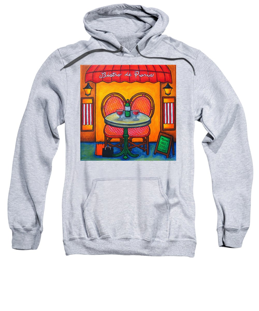 Paris Sweatshirt featuring the painting Table For Two In Paris by Lisa Lorenz