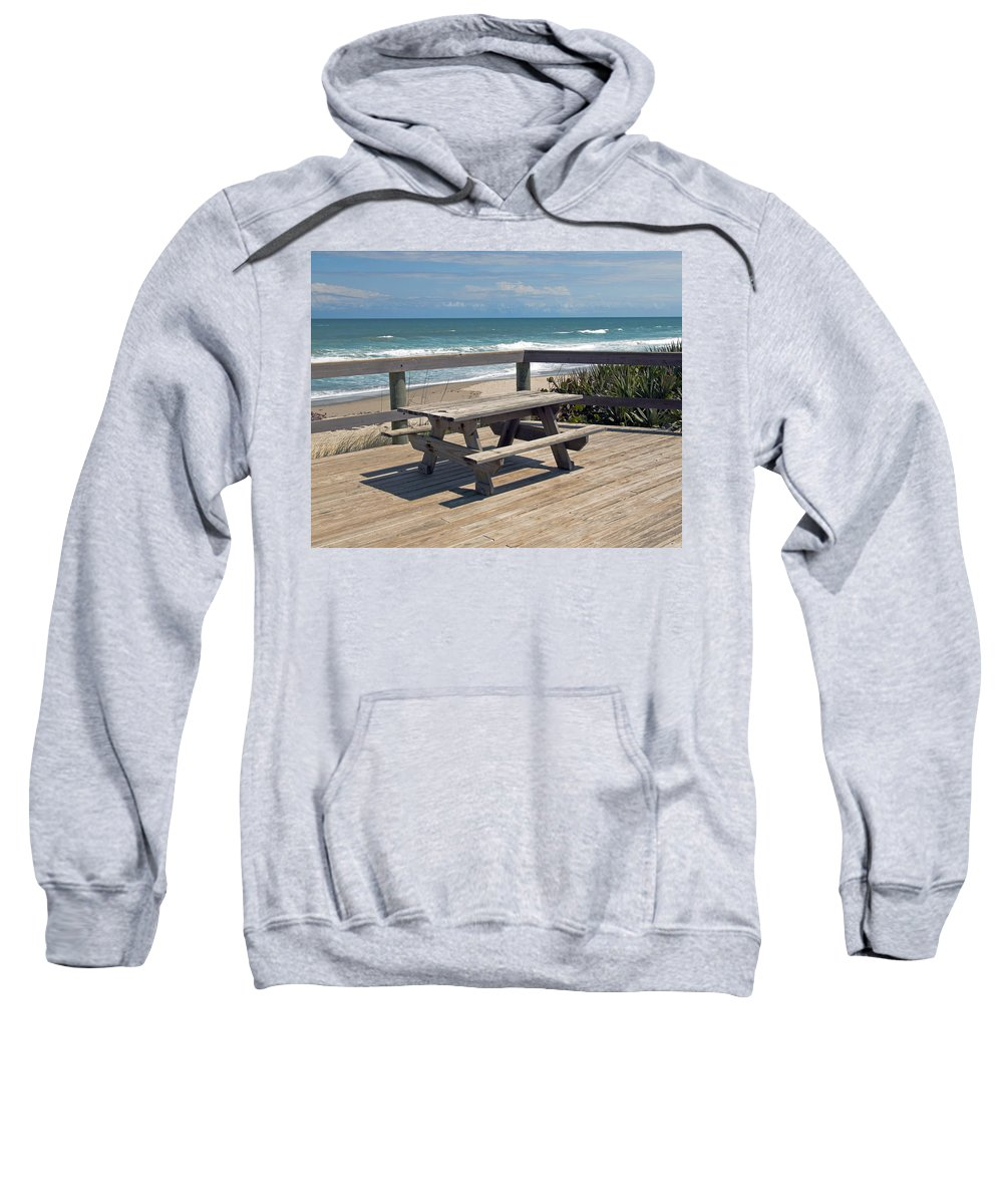 Florida Sweatshirt featuring the photograph Table For You In Melbourne Beach Florida by Allan Hughes
