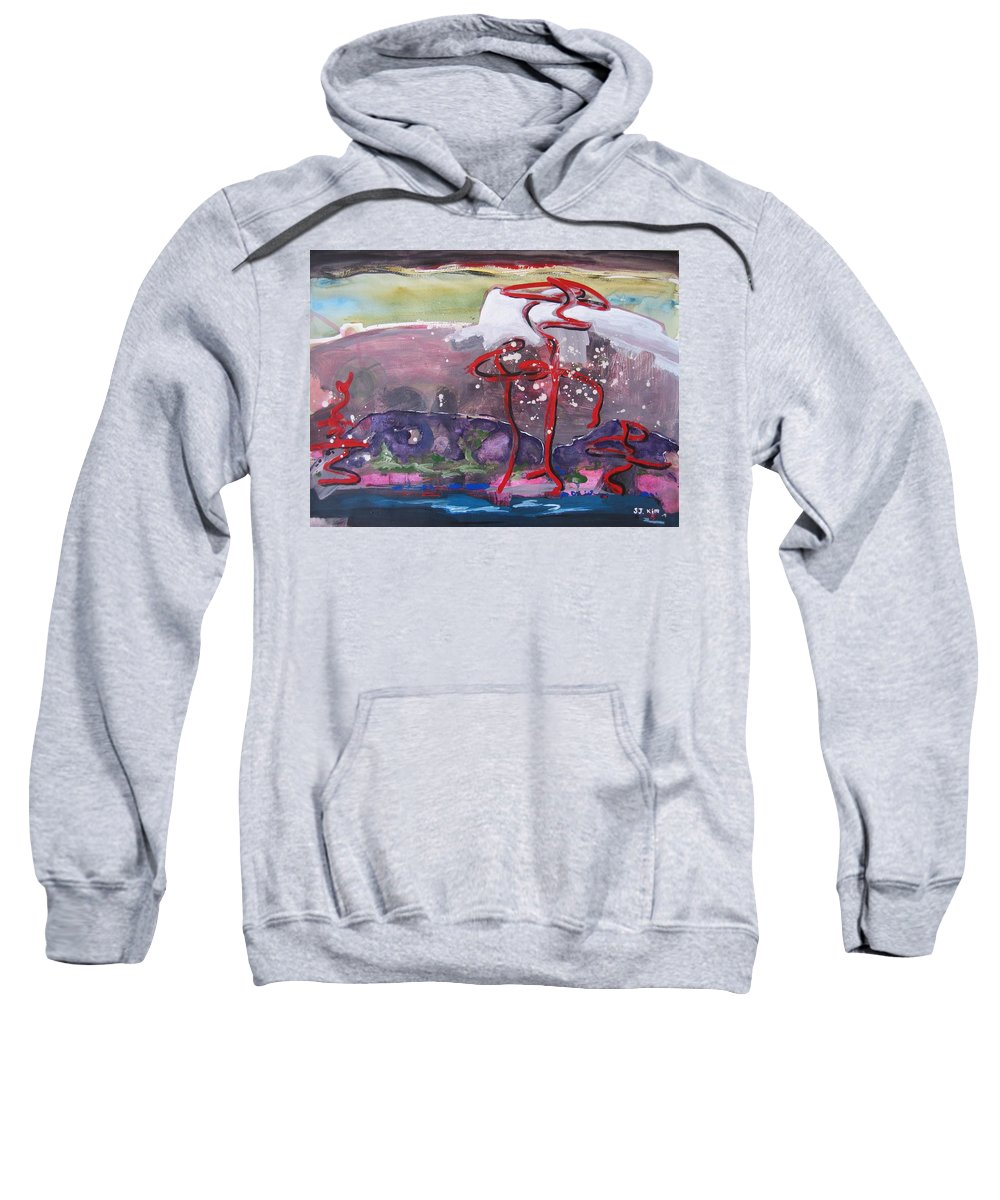 Abstract Paintings Sweatshirt featuring the painting Table Land3 by Seon-Jeong Kim