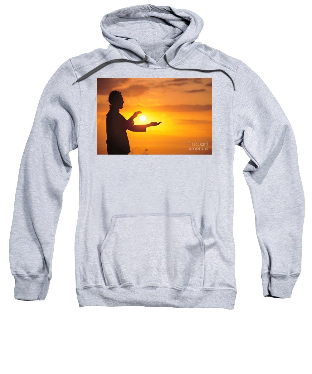 Athletic Sports Art Sweatshirt featuring the photograph Tai Chi At Sunset by Joe Carini - Printscapes
