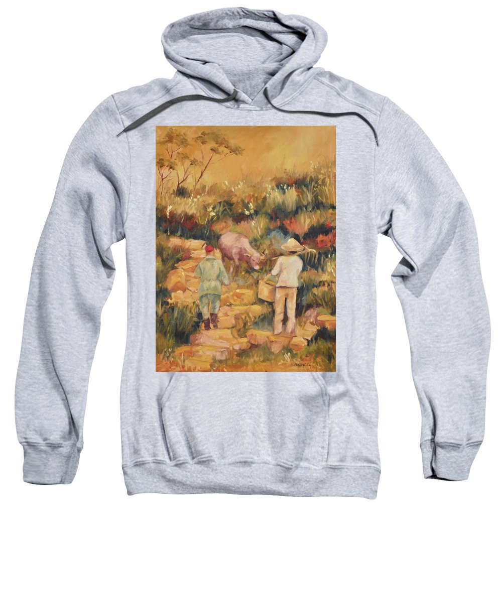 Water Buffalo Sweatshirt featuring the painting Taipei Buffalo Herder by Ginger Concepcion