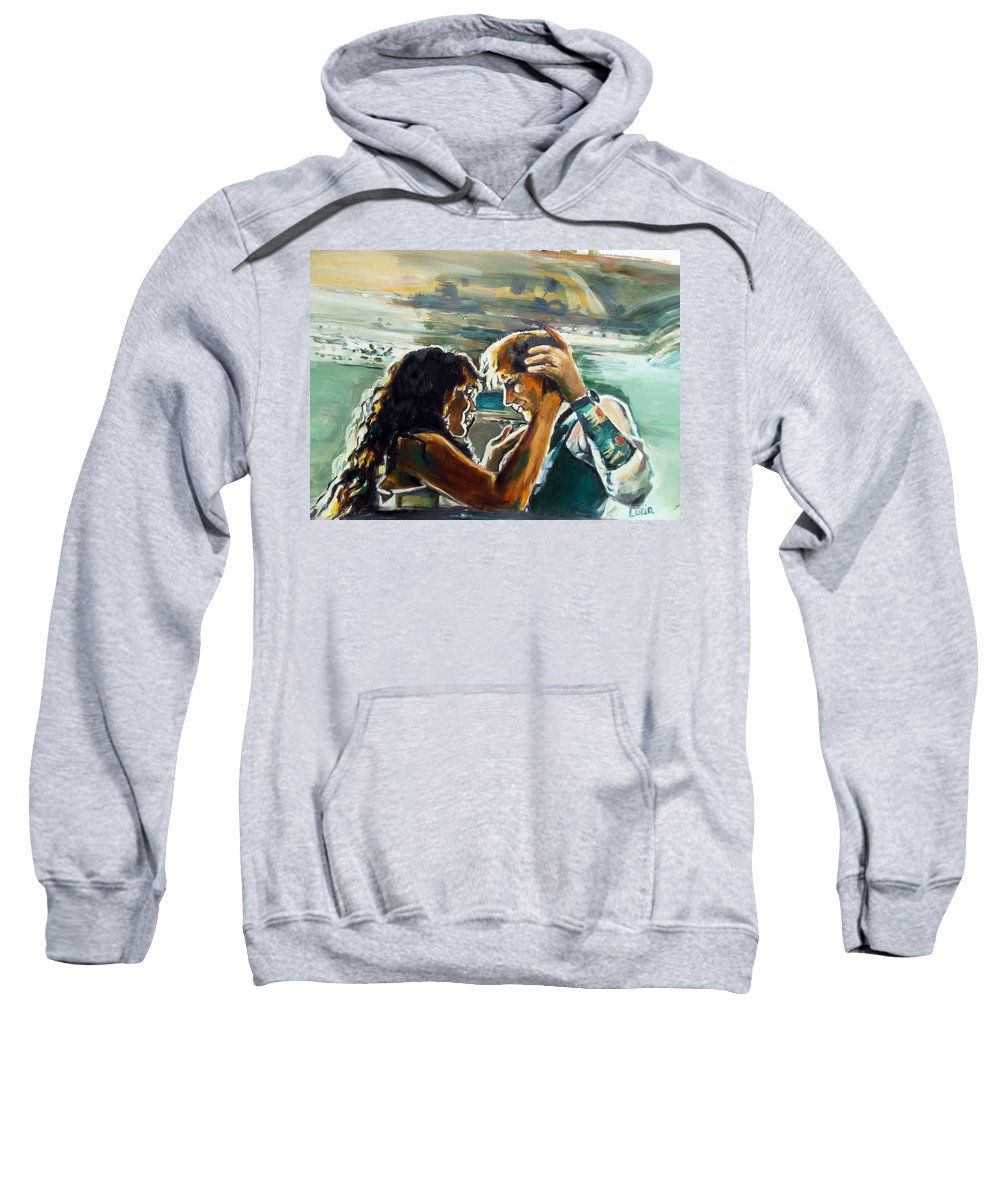 Ed Sheeran Sweatshirt featuring the painting Take Me Into Your Loving Arms by Lucia Hoogervorst