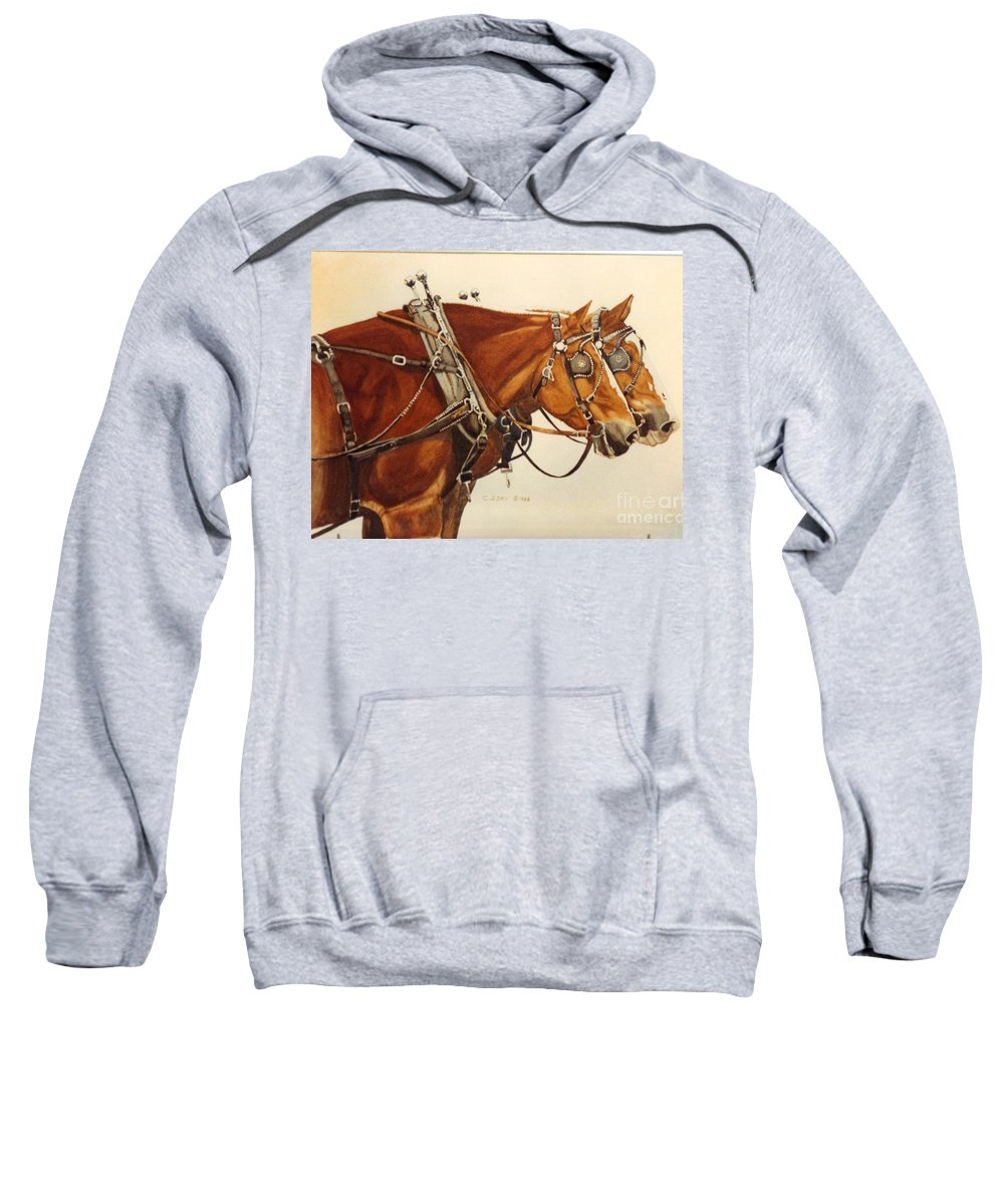 Western Suffolk Draft Horses In Harness Sweatshirt featuring the painting Taking A Break by Cathy Sky