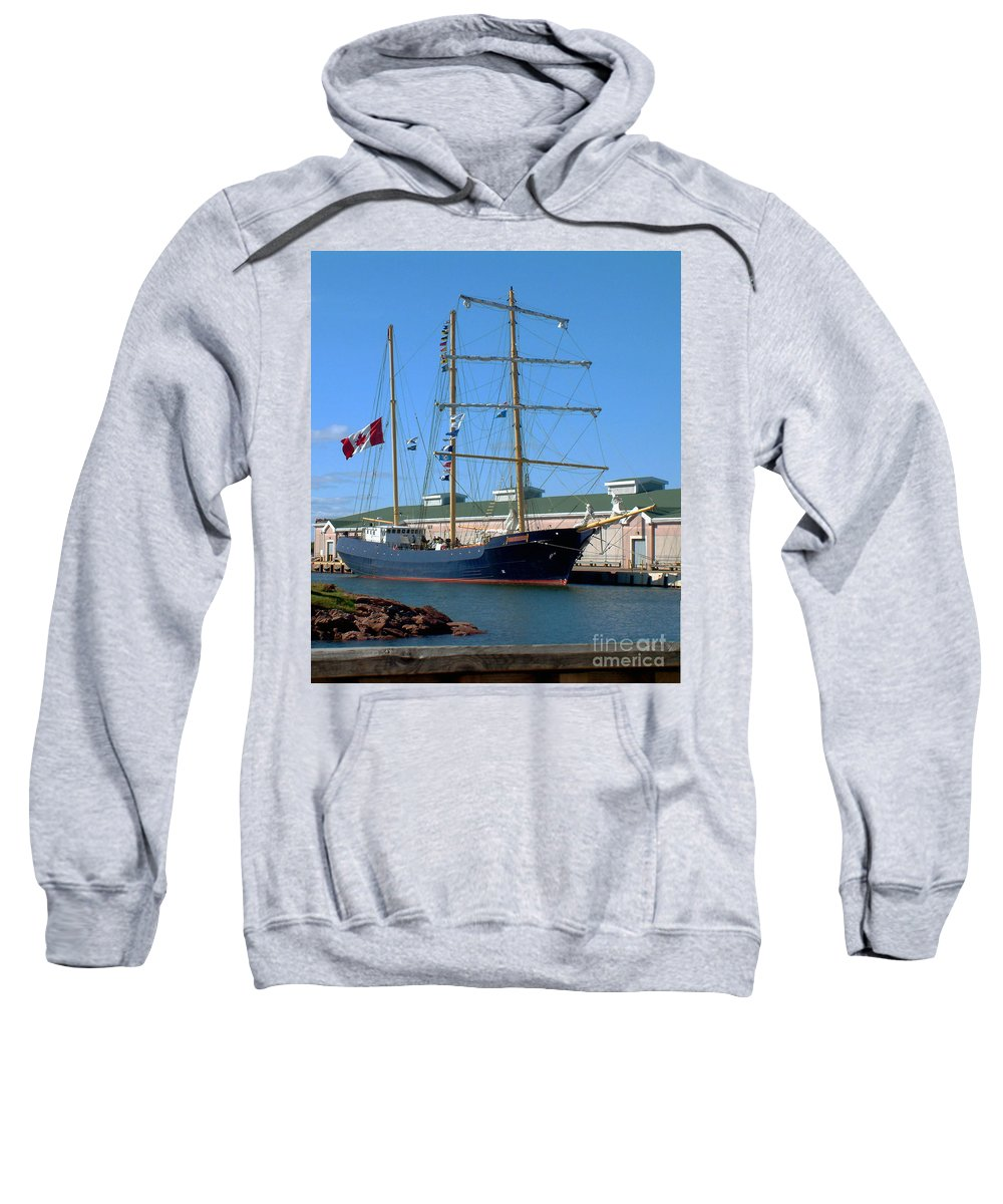 Dock Sweatshirt featuring the photograph Tall Ship Waiting by RC DeWinter