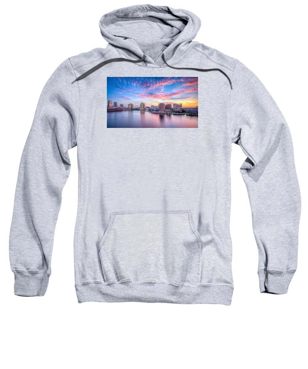 Harbour Island Sweatshirt featuring the photograph Tampa Bay Sunrise by Lance Raab