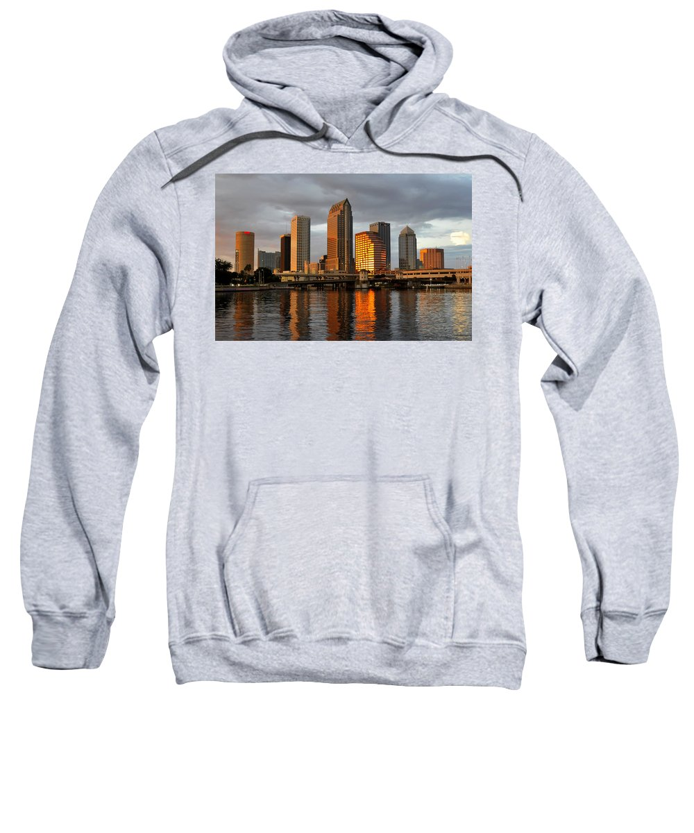 Tampa Sweatshirt featuring the photograph Tampa In Reflection by David Lee Thompson