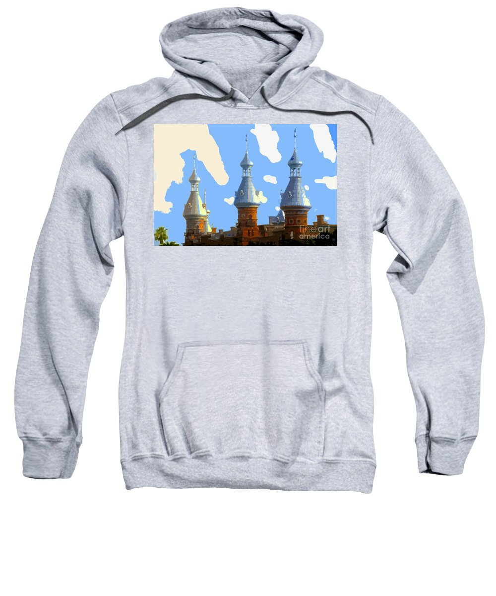 Tampa Florida Sweatshirt featuring the painting Tampa's Minarets by David Lee Thompson