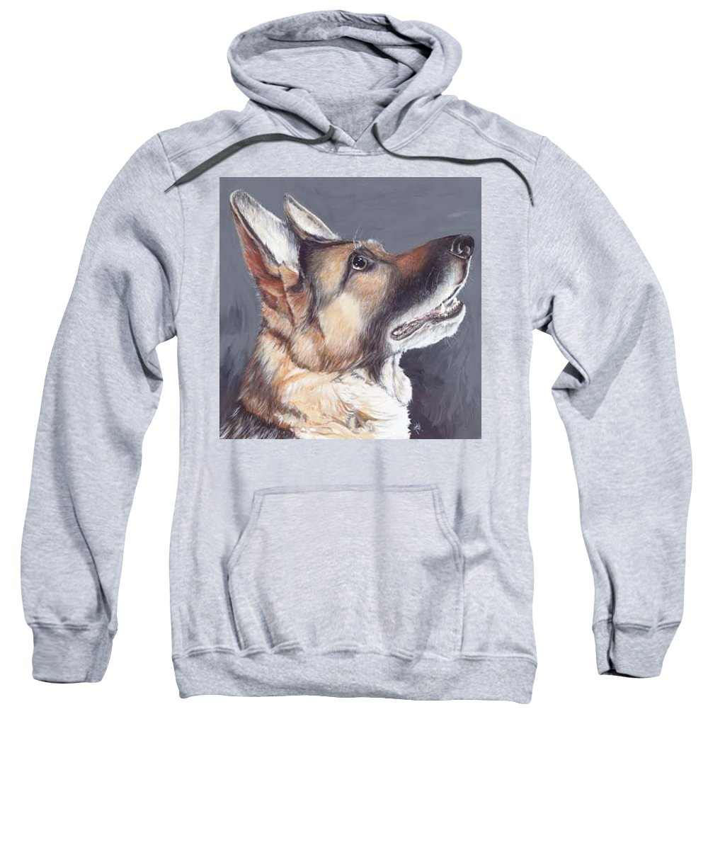 Dogs Artwork Sweatshirt featuring the painting Tan Tan by Keran Sunaski Gilmore