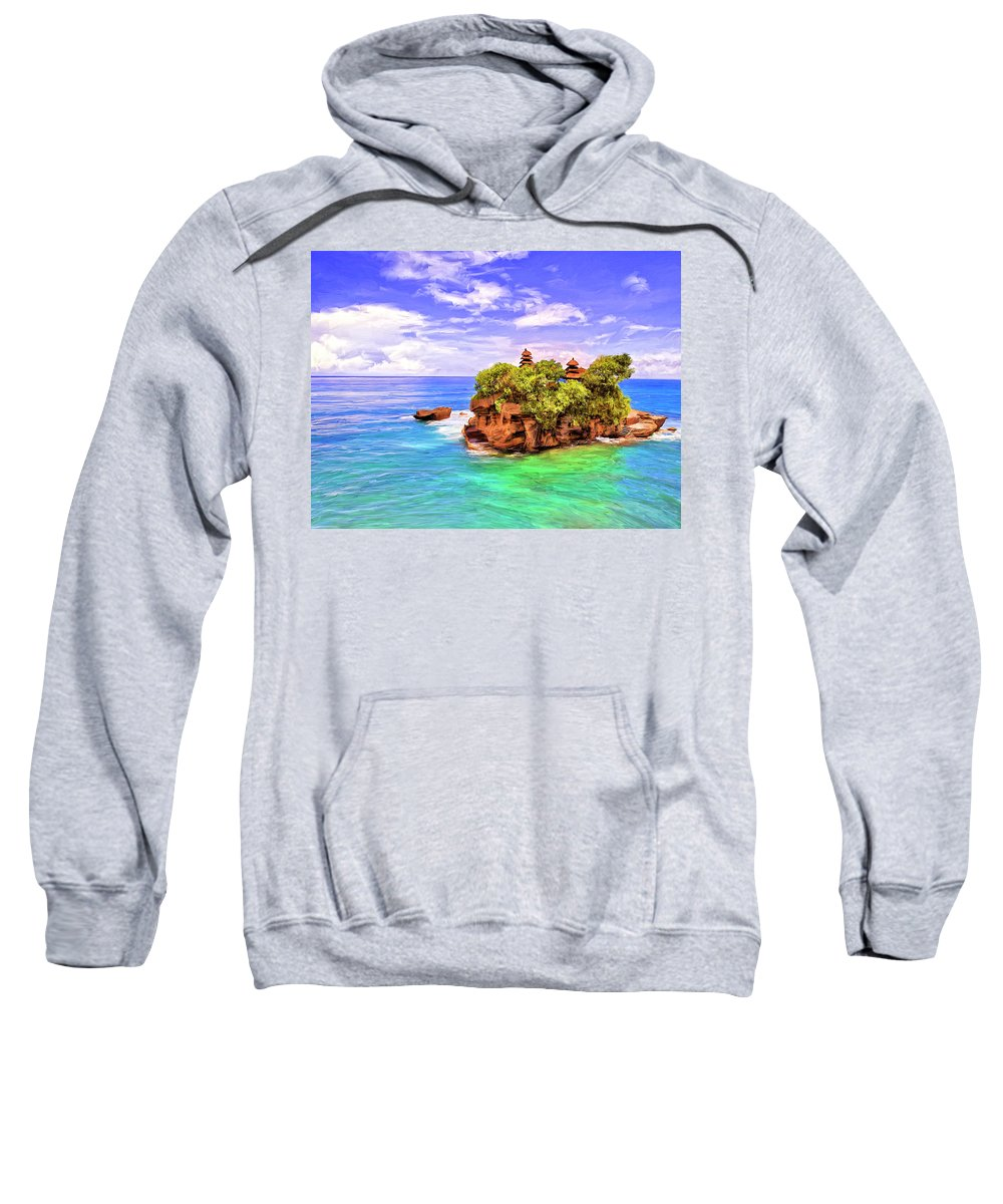 Tanah Lot Sweatshirt featuring the painting Tanah Lot Temple Bali by Dominic Piperata