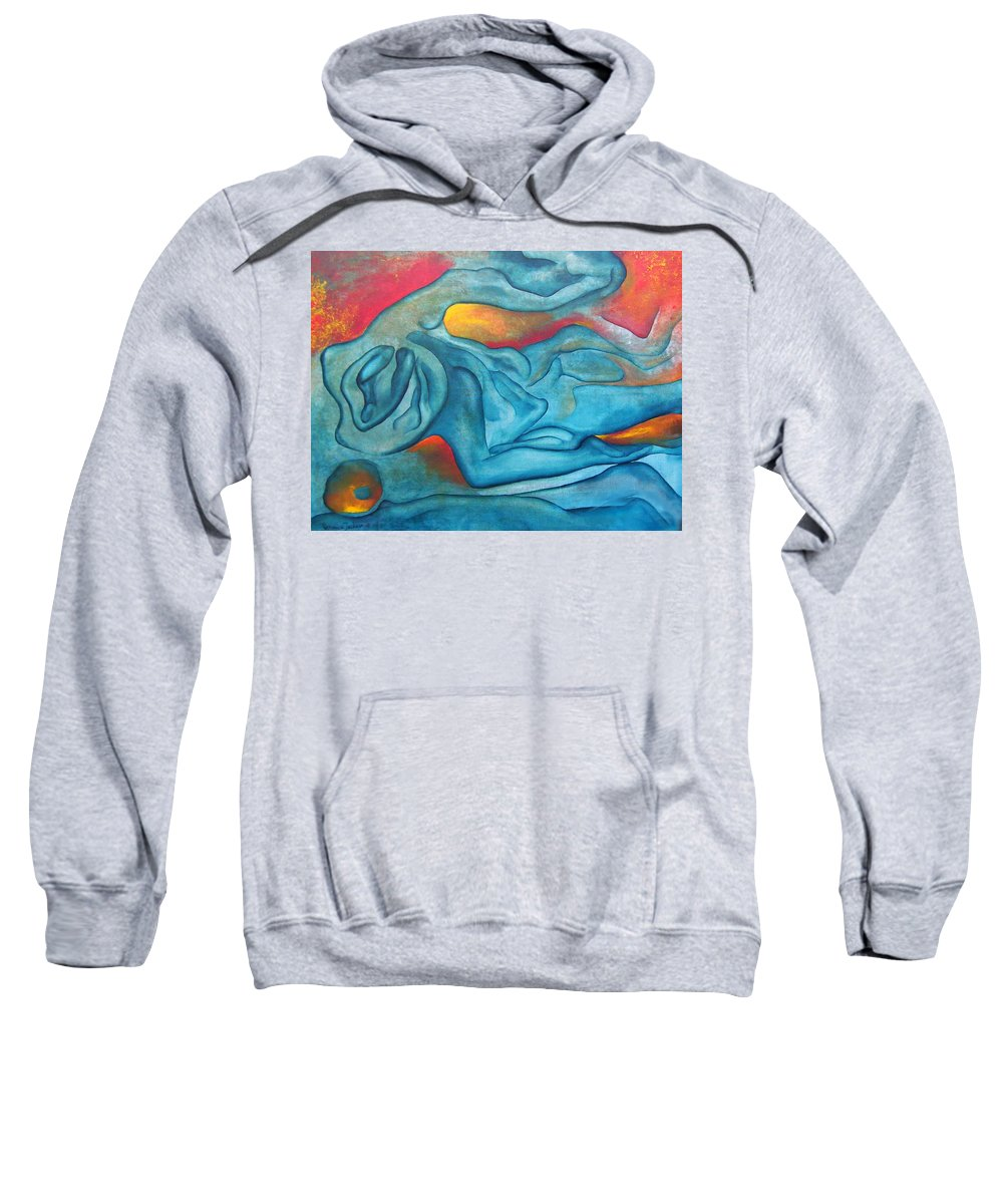 Abstract Blues Love Passion Sensual Earth Sweatshirt featuring the painting Tangled Up by Veronica Jackson