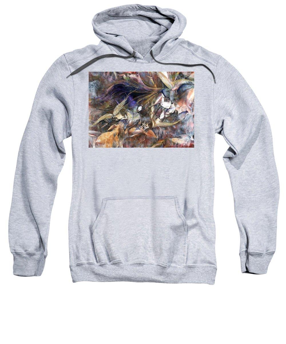 Birds Sweatshirt featuring the painting Tango Birds by Jan VonBokel
